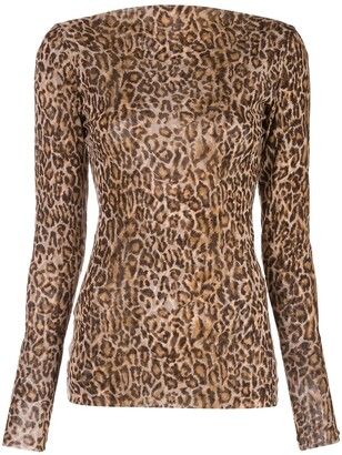 Peter Cohen Leopard Print Fitted Top