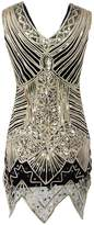 Ez-sofei Women's 1920s Vintage Sequined Embellished Gatsby Flapper Dress (L, )