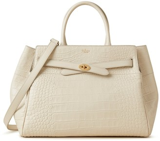 Mulberry Belted Bayswater With Strap Chalk Soft Printed Croc and Silky Calf