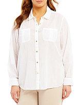 Calvin Klein Plus Button Front Crinkle Shirt