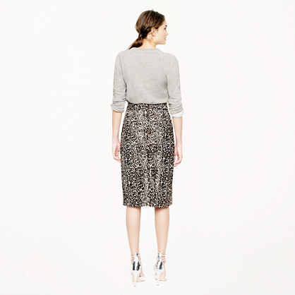 J.Crew Collection printed calf hair skirt