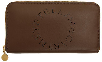 Stella McCartney Brown Logo Zip Wallet