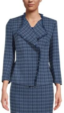 Kasper Petite Tweed Fringe Jacket