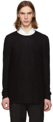 HUGO Black Linen Crewneck Sweater