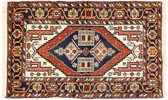 "One Kings Lane Vintage Persian Heriz Tribal Rug - 3'7"" x 5'6"" - Esmaili Rugs & Antiques - red/blue/ivory/multi"