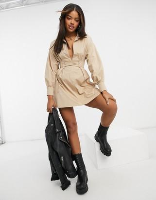 Bershka corset shirt dress in beige