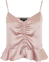 Topshop Satin ruched camisole top