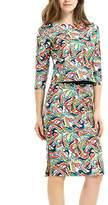 YACUN Women's 2 Pieces Half Sleeve Floral Print Sheath Pencil Dress L