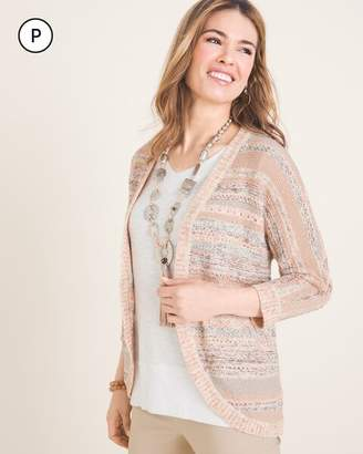 Chico's Chicos Petite Striped Mixed-Yarn Cocoon Cardigan