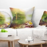 """Lotus Flowers on Background Pillow East Urban Home Size: 16"""" x 16"""", Product Type: Throw Pillow"""