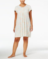 Miss Elaine Plus Size Lace-Trimmed Floral-Print Knit Nightgown