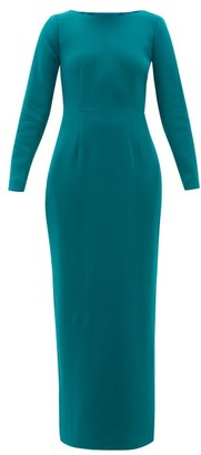 Rebecca De Ravenel Jamie Scoop-neck Wool-crepe Maxi Dress - Dark Green