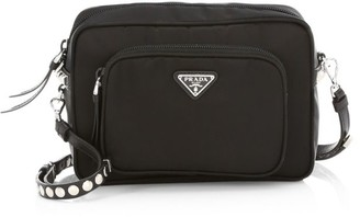 Prada Nylon Crossbody Bag With Studding