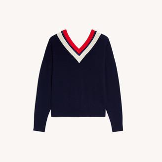 Sandro Striped V-neck sweater