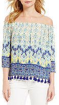 Daniel Cremieux Riley Georgette Off-the-Shoulder Printed Tassel Blouse