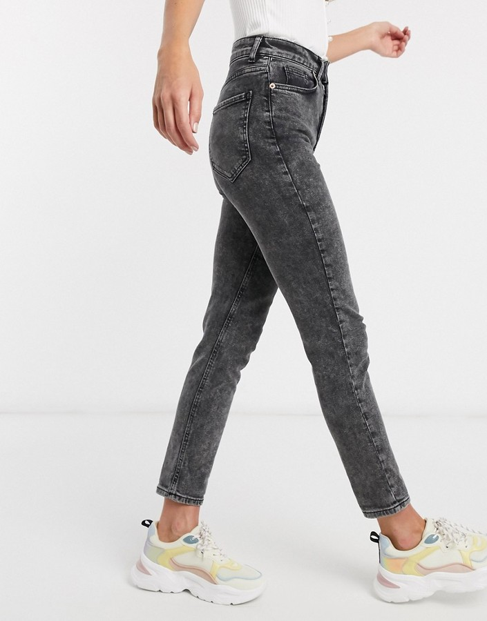 Thumbnail for your product : New Look acid wash mom jeans in grey