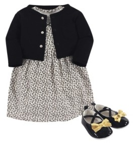 Little Treasure Baby Girls Leopard Cardigan, Dress and Shoe Set, Pack of 3