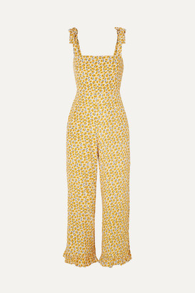 Faithfull The Brand Frankie Ruffled Shirred Floral-print Crepe Jumpsuit - Yellow