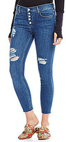 Free People Destroyed Reagan Button Front Skinny Jeans