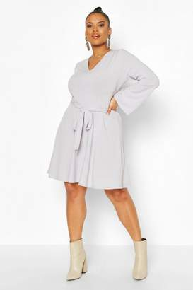 boohoo Plus Jumbo Rib V Neck Skater Dress