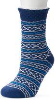 Cuddl Duds Women's Fairisle Popcorn Top Lined Gripper Sweater Socks