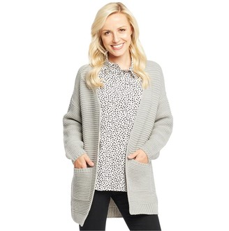 Onfire Womens Long Cardigan Grey Marl