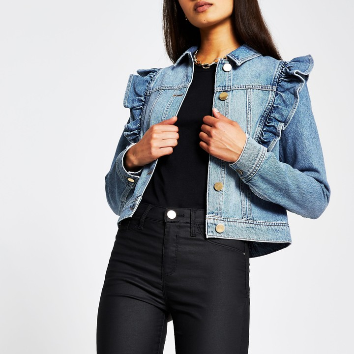 Thumbnail for your product : River Island Womens Blue long sleeve frill denim jacket