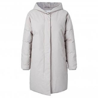 Ya-Ya Light Grey Cotton Blend Hooded Puffer Coat - 34