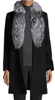Fleurette Belted Fur-Trim Wrap Coat, Black