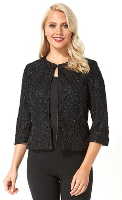 M&Co Roman Originals metallic lace cropped jacket