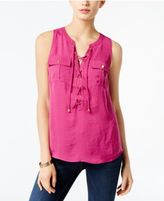 INC International Concepts Lace-Up Top, Created for Macy's