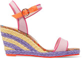 Sophia Webster Lucita Leather-trimmed Canvas Espadrille Wedge Sandals - Pink