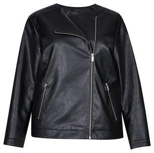 Dorothy Perkins Womens Dp Curve Black Pu Collarless Jacket, Black