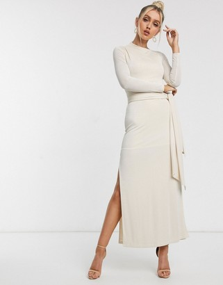 Significant Other sabine slinky collumn maxi dress with tie waist in cream