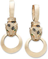 Effy Signature Black and White Diamond (3/4 ct. t.w.) and Emerald Accent Door Knocker Panther Earrings in 14k Rose Gold