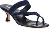 Manolo Blahnik Susa Strappy Denim Slide Sandals