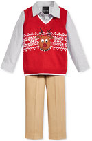 Nautica 3-Pc. Reindeer Sweater Vest, Shirt & Pants Set, Baby Boys (0-24 months)