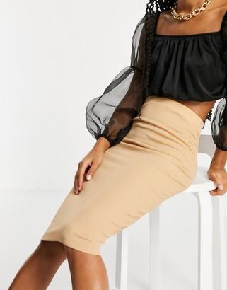 Flounce London basic midaxi skirt in camel