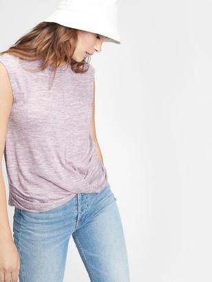 Gap Softspun Sleeveless Twist-Knot Front T-Shirt