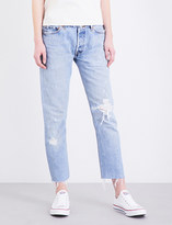 RE/DONE Frayed-hem straight high-rise jeans