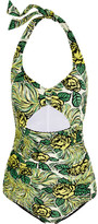 Anna Sui Rosa Mexicana Cutout Printed Halterneck Swimsuit - Yellow