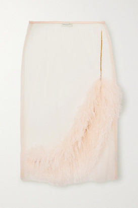 Dries Van Noten Feather And Crystal-embellished Tulle Skirt - Pink