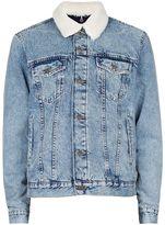 Topman Acid Wash Faux Shearling Collar Jacket