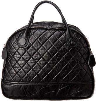 Chanel Black Quilted Calfskin Leather Large Bowler Bag