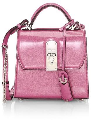 Salvatore Ferragamo Small Boxyz Glitter Leather Top Handle Bag