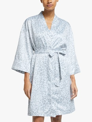John Lewis & Partners Marie Short Satin Robe, Pale Blue