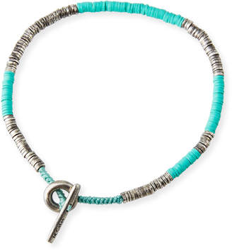 M. Cohen Men's Stacked Bead & Sterling Silver Disc Bracelet, Turquoise