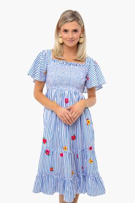 Pink City Prints Blue Stripe Lolita Embroidered Dress