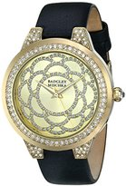 Badgley Mischka Women's BA/1330CHBK Swarovski Crystal Accented Gold-Tone and Black Leather Strap Watch