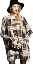 YOUJIA Women's Loose Newspaper Print Knit Pullover Sweater